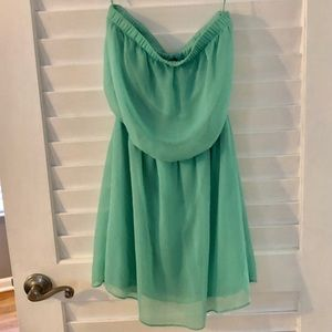 Turquoise strapless dress